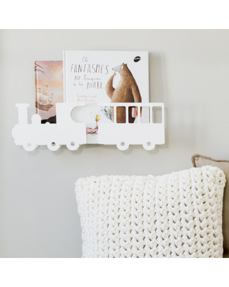 Train bookshelf - white