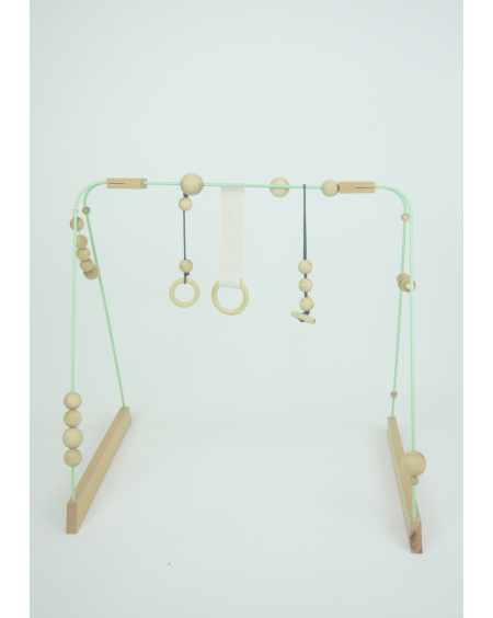 Baby gym mint, grey and wood