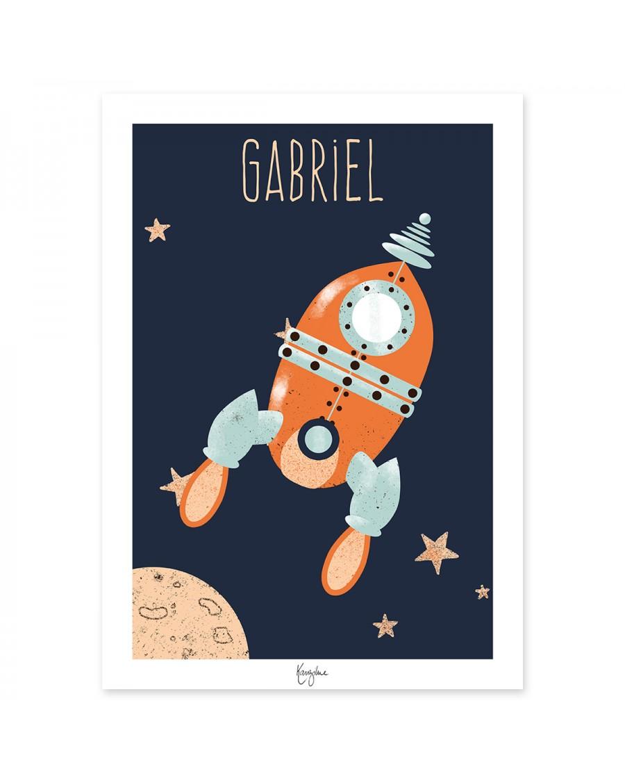Affiche personnalisable – la fusée | Kanzilue | MyloWonders