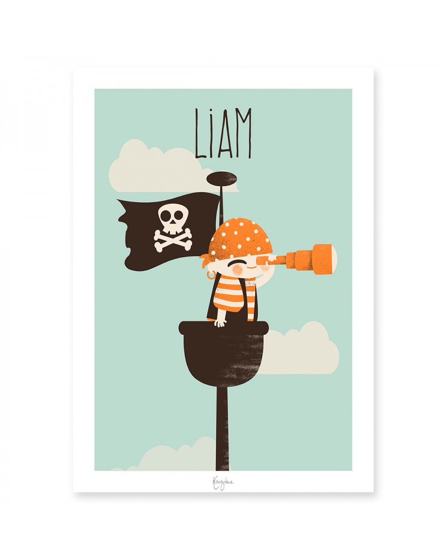 Affiche personnalisable – le pirate   Kanzilue   MyloWonders