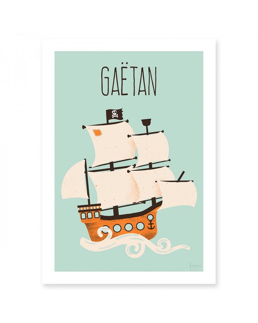 Affiche personnalisable – le bateau pirate | Kanzilue | MyloWonders