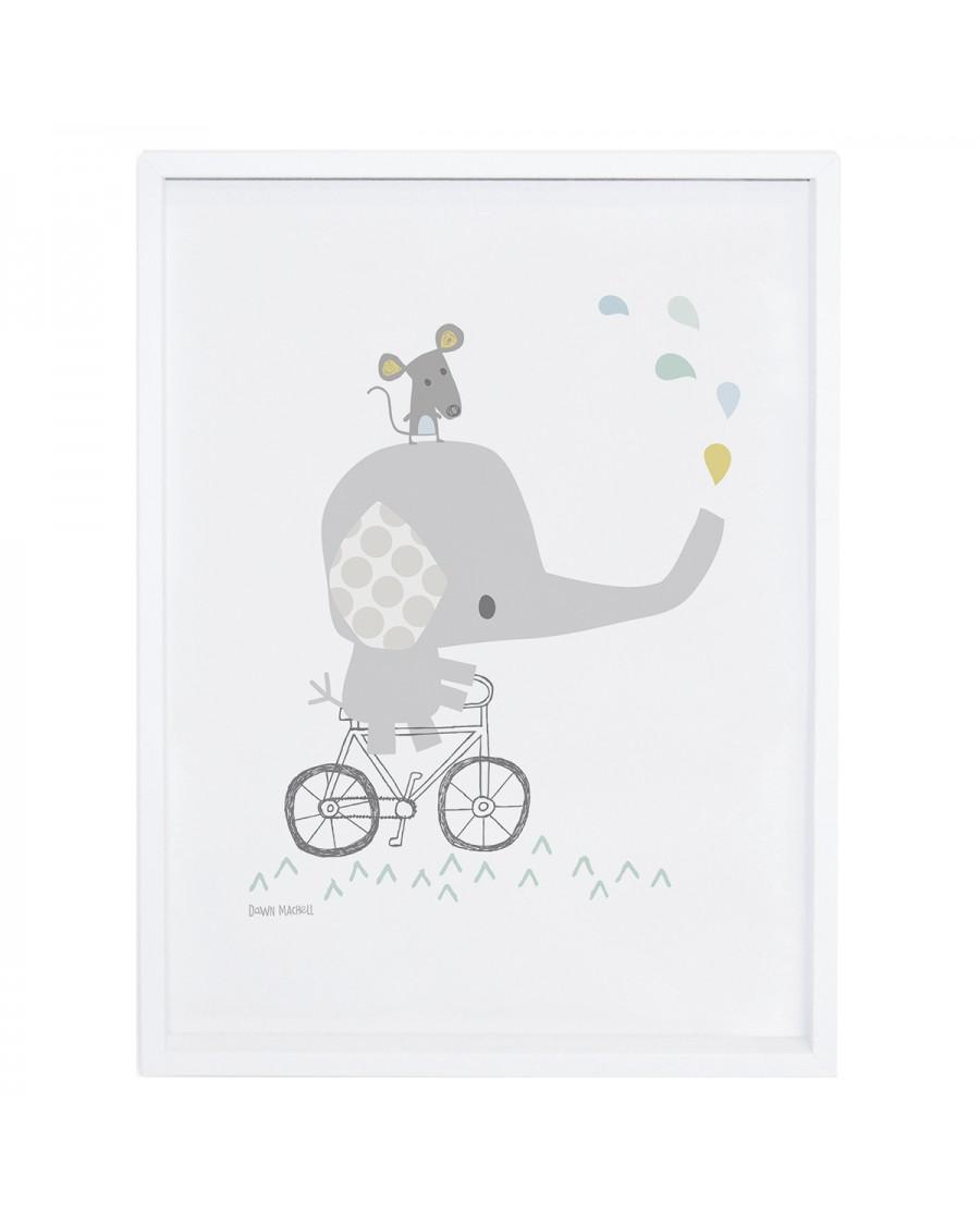 bébé éléphant sur son vélo - Affiche décorative - lilipinso - mylowonders