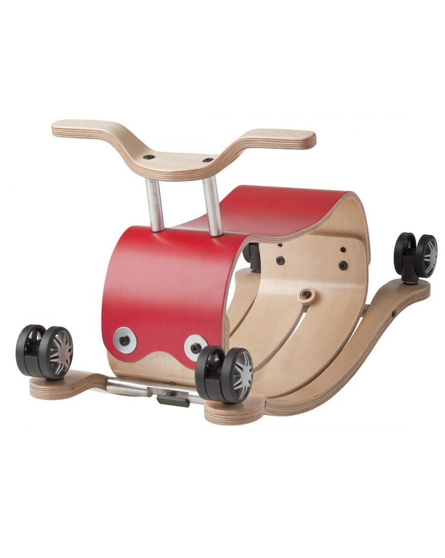 Flip Rouge - 3 en 1 Bascule, chariot et porteur - wishbone - mylowonders