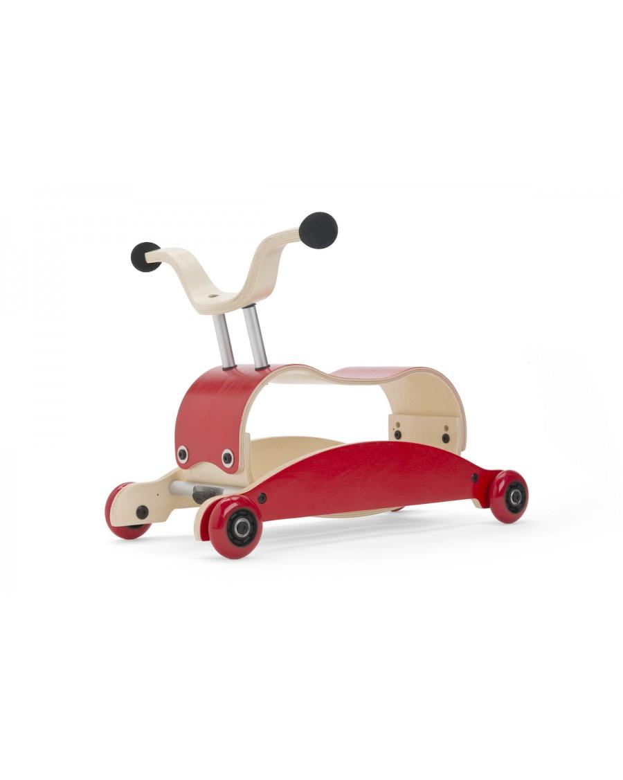 3 en 1 Mini Flip rouge -  Trotteur, Bascule et porteur - wishbone - mylowonders