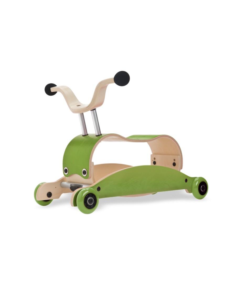3 en 1 Mini Flip green -  Trotteur, Bascule et porteur - wishbone - mylowonders