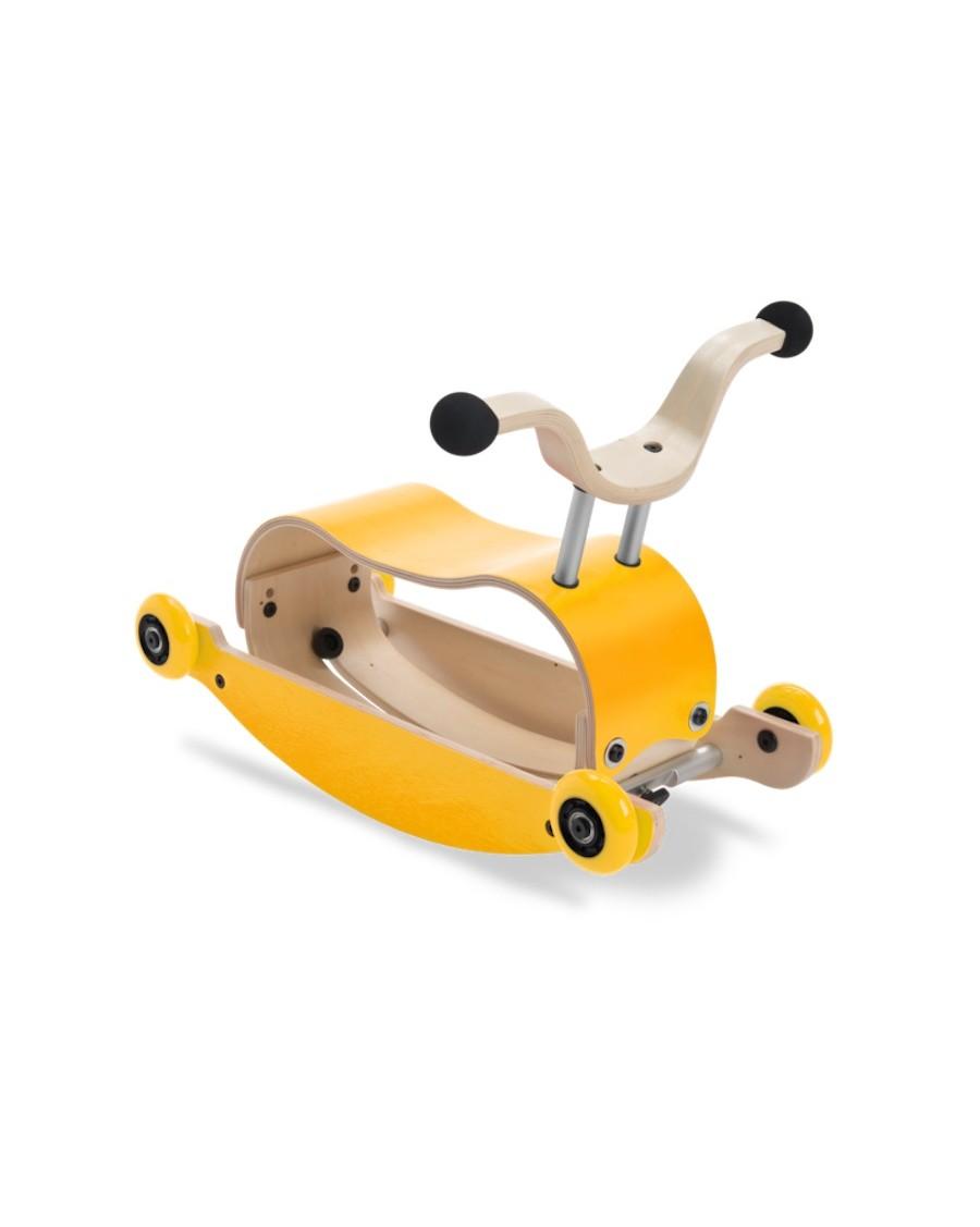 3 en 1 Mini Flip jaune -  Trotteur, Bascule et porteur - wishbone - mylowonders