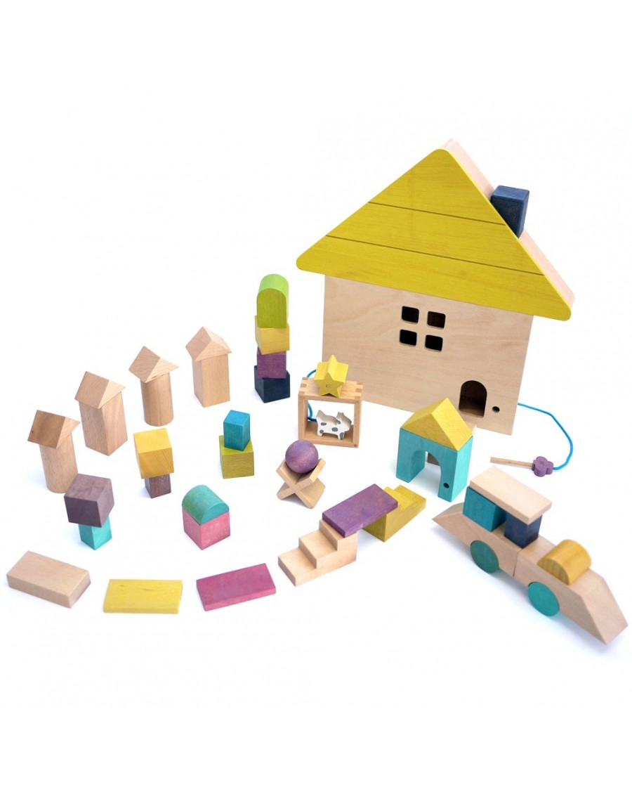 Building Blocks Wooden House - kukkia - MyloWonders
