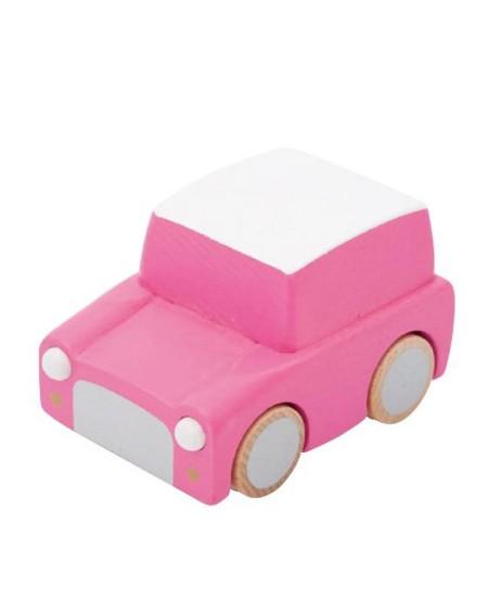 Wooden Wind Up Car - Pink - kukkia - mylowonders