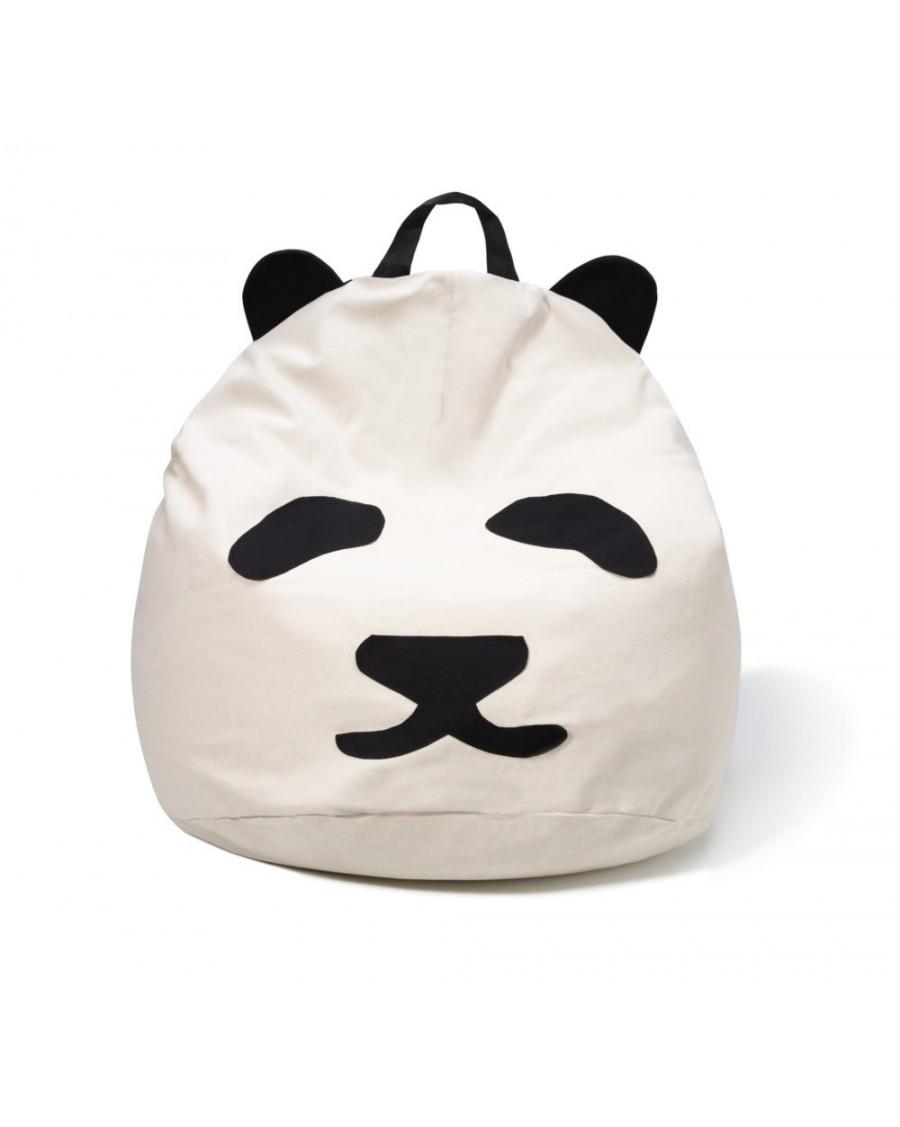 Pouf Pandas Bini Poignée Noire | MyloWonders