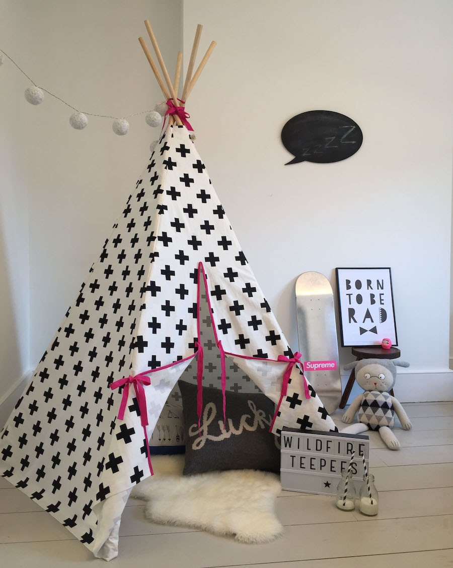 Cross Teepee Pink Trim - wildfire teepees - mylowonders