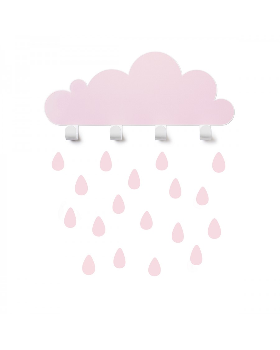 Portemanteau nuage & stickers gouttes - rose - tresxics | Mylowonders