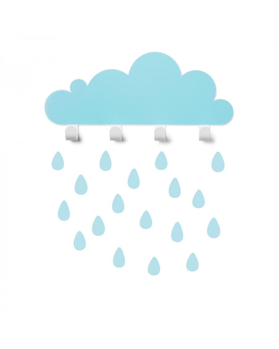 Portemanteau nuage & stickers gouttes - bleu ciel - tresxics | Mylowonders