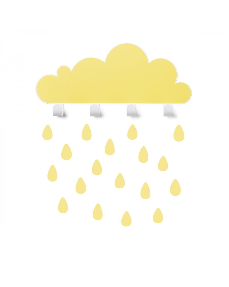 Portemanteau nuage & stickers gouttes - jaune - tresxics | Mylowonders