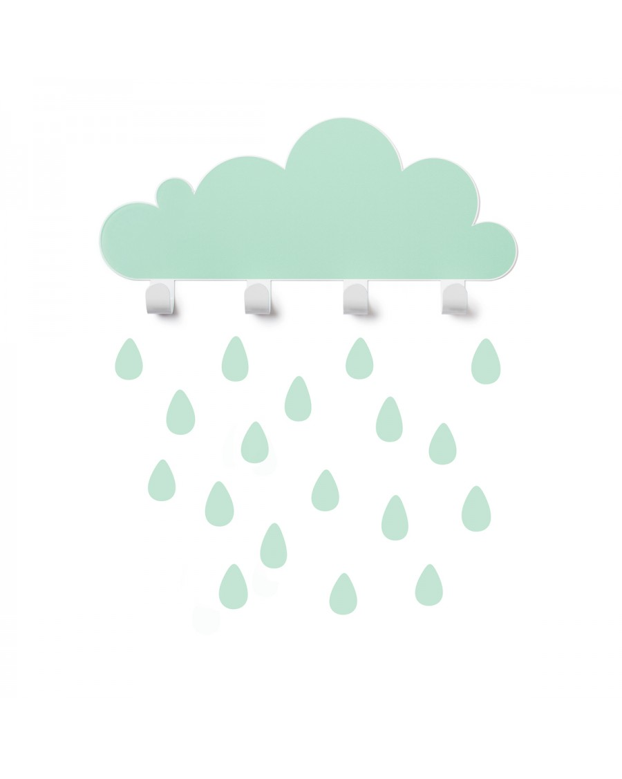 Portemanteau nuage & stickers gouttes - vert d'eau - mylowonders