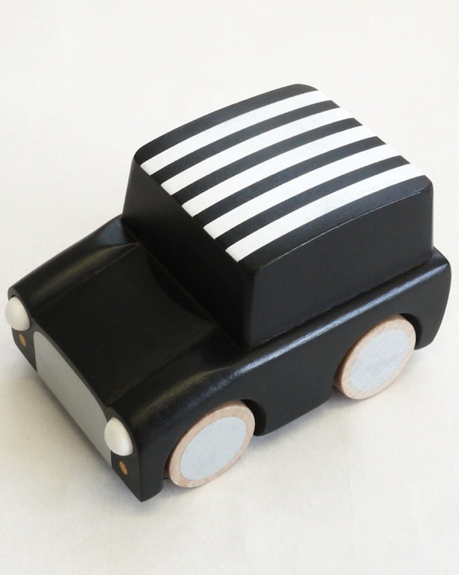 Wooden Wind Up Car - Stripe Black - kukkia - mylowonders
