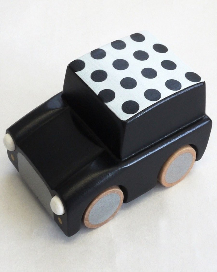 Wooden Wind Up Car - Dots & Black - mylowonders