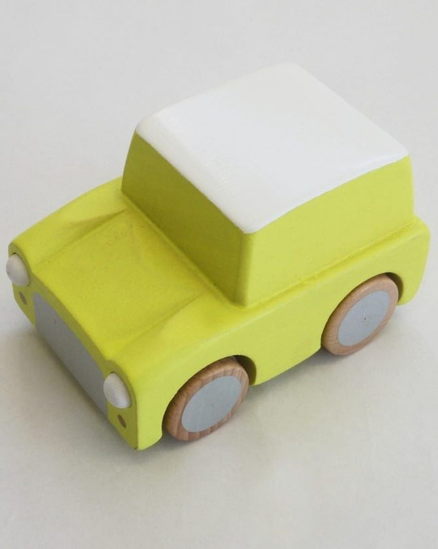 Wooden Wind Up Car - Yellow - mylowonders