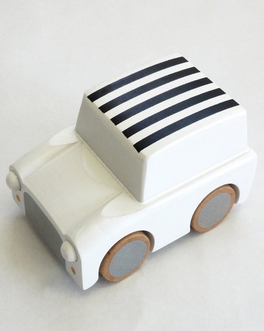 Wooden Wind Up Car - Stripe White - kukkia - MyloWonders