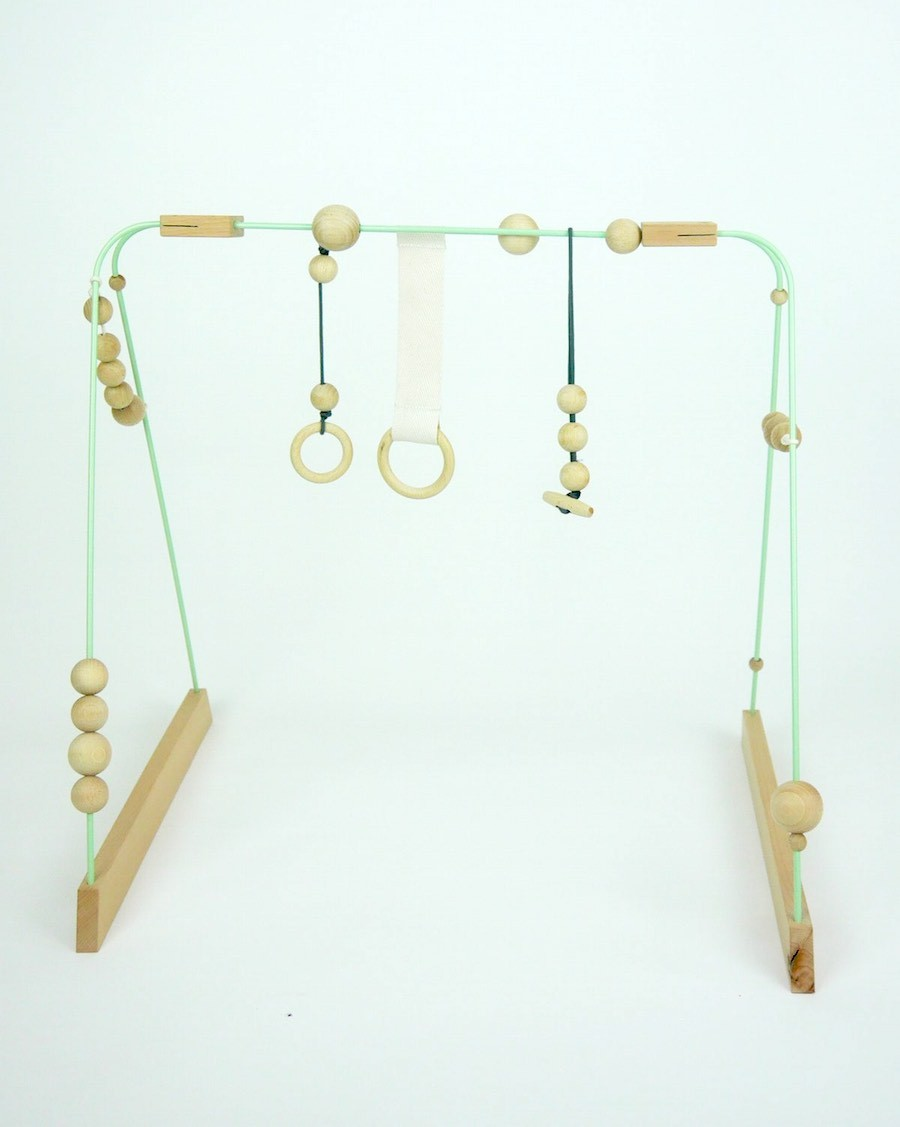 Baby gym mint, grey and wood - mylowonders