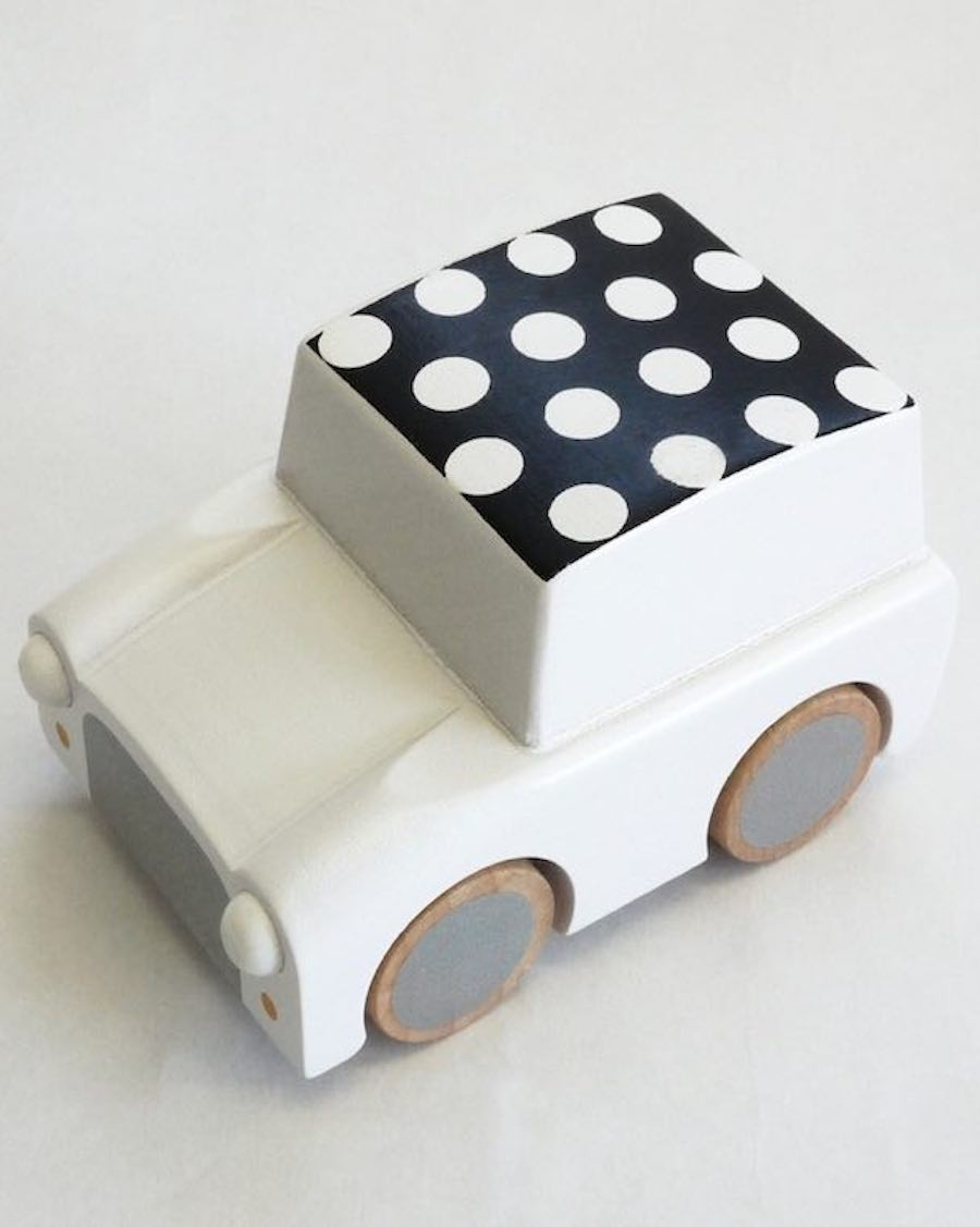 Wooden Wind Up Car - Dots & White - mylowonders