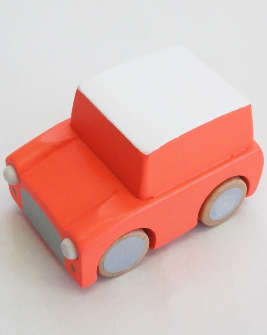 Wooden Wind Up Car - Orange - MyloWonders