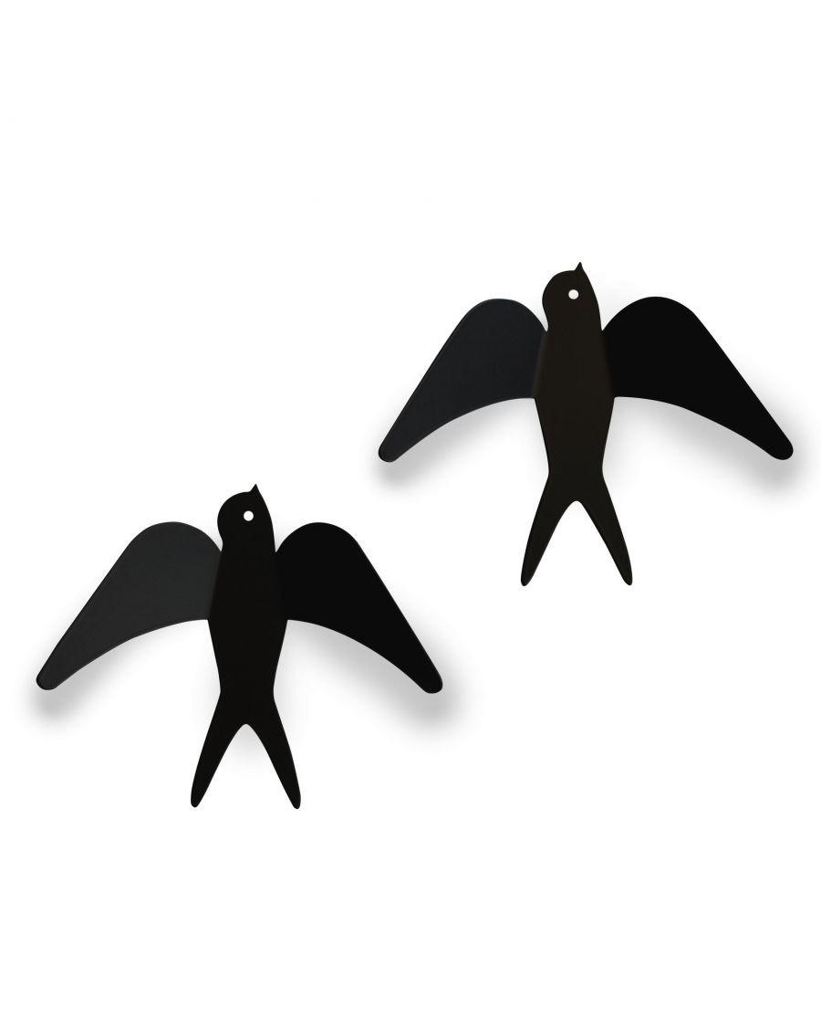 Deux patères hirondelles noires - MyloWonders