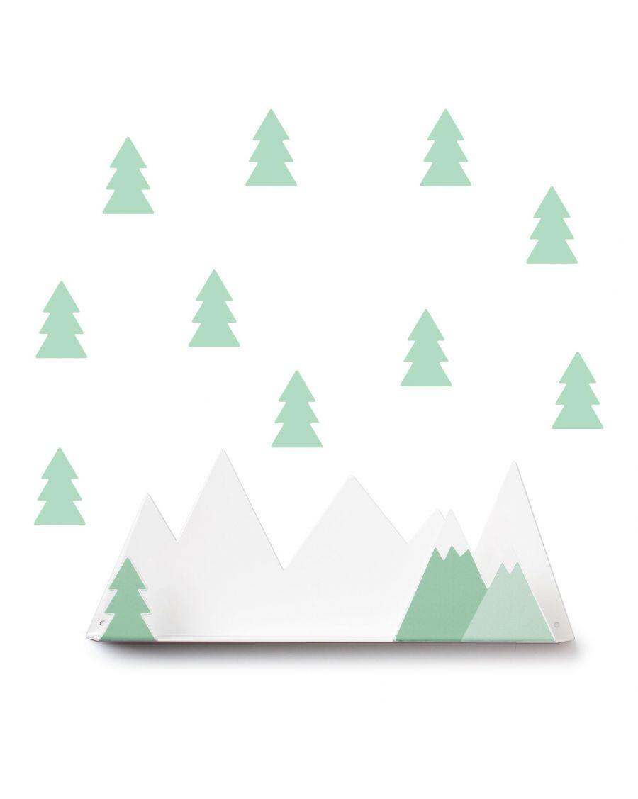 Etagère montagne & stickers vert menthe - mylowonders