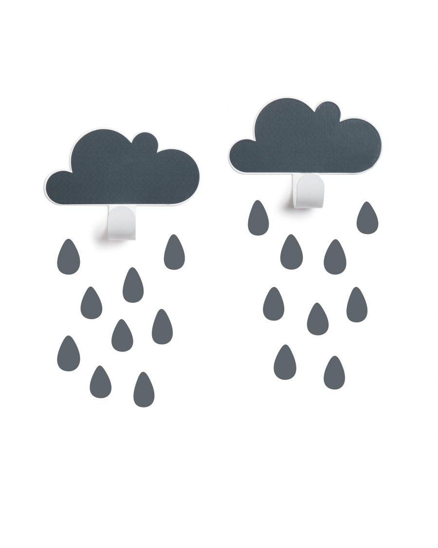 Patères nuages & stickers gouttes - gris - MyloWonders
