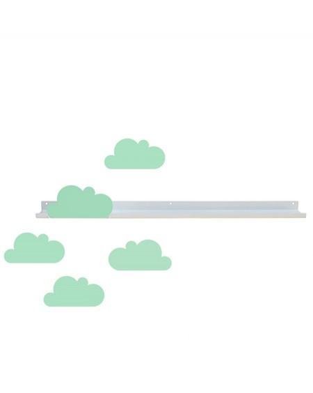 Longue étagère & stickers nuages vert d'eau - tresxics - mylowonders