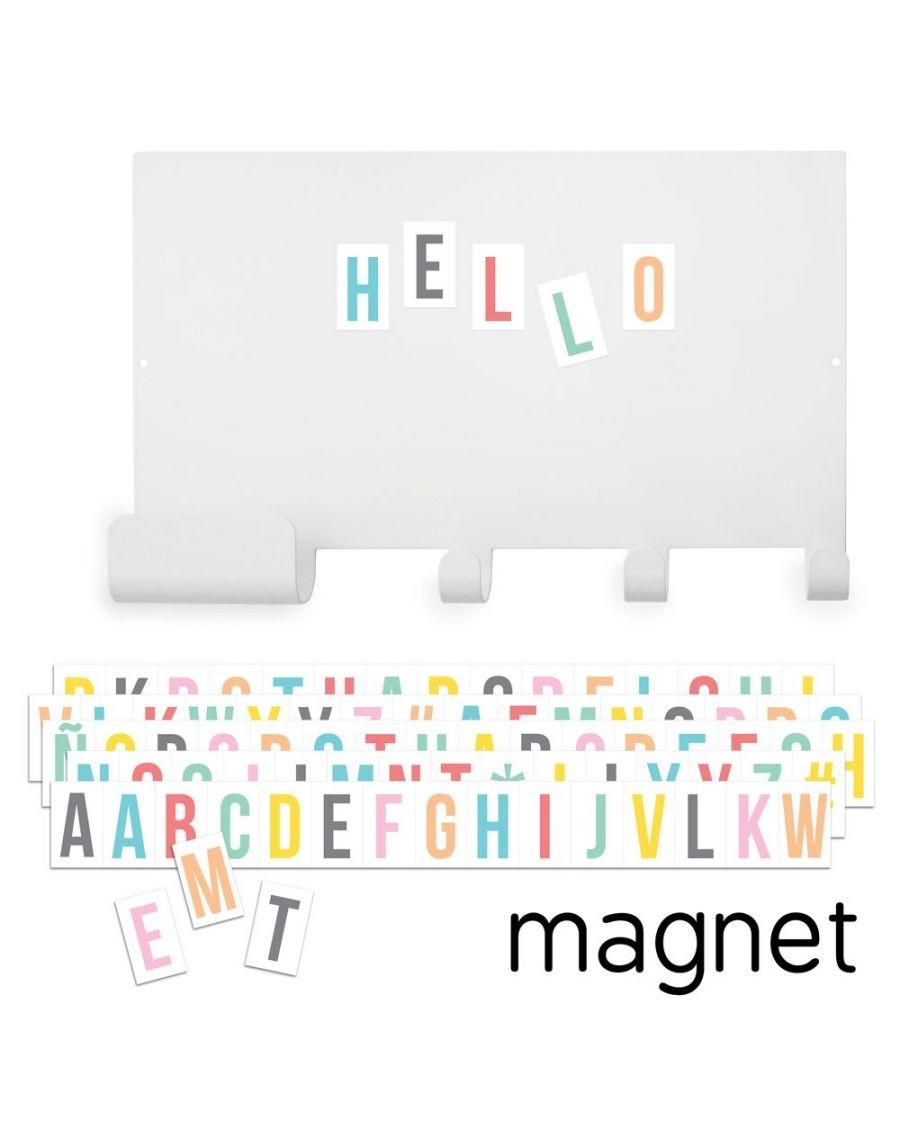 Porte-manteaux et tableau magnétique avec lettres multicolores - tresxics - mylowonders