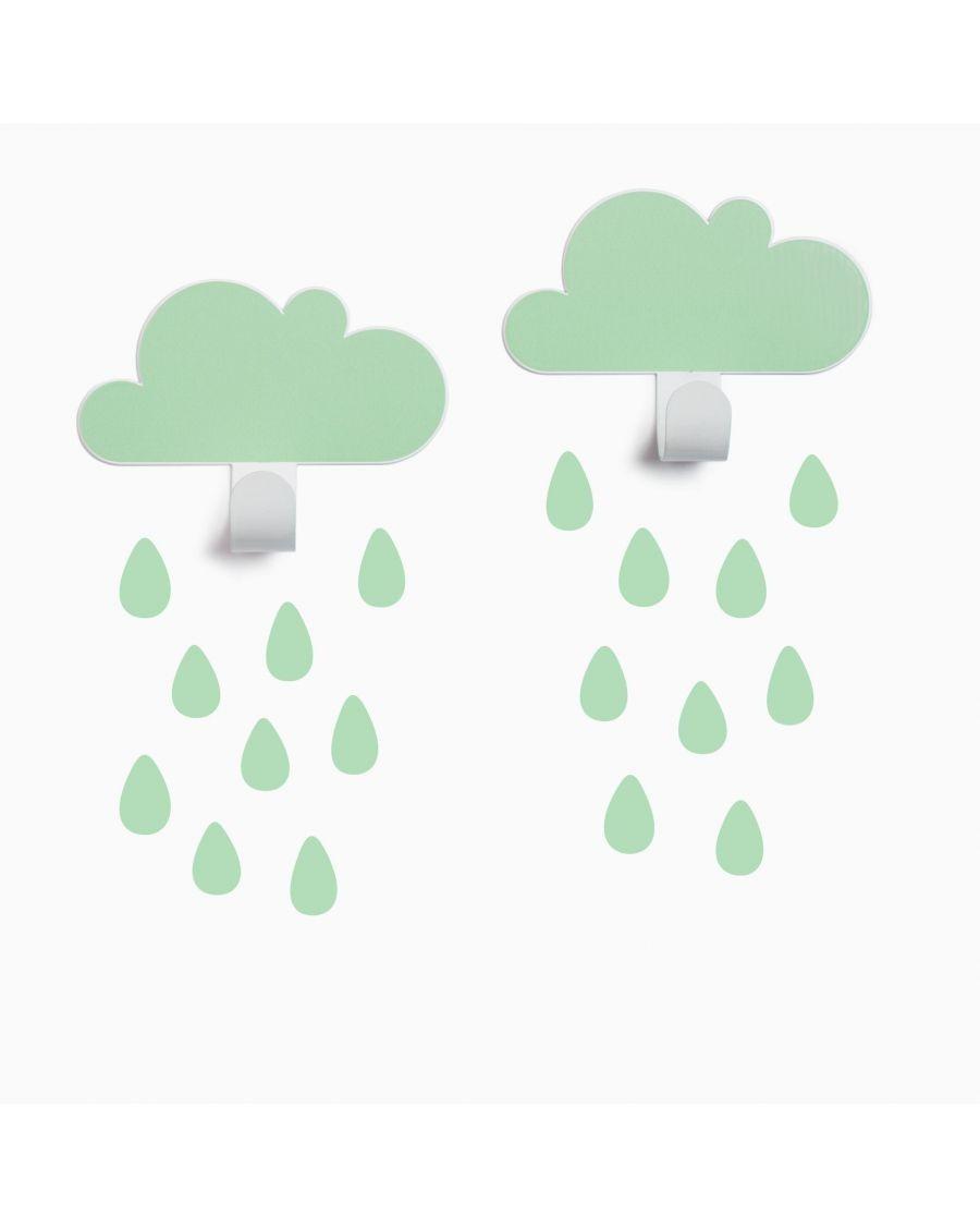 Patères nuages & stickers gouttes - vert d'eau - tresxics - MyloWonders