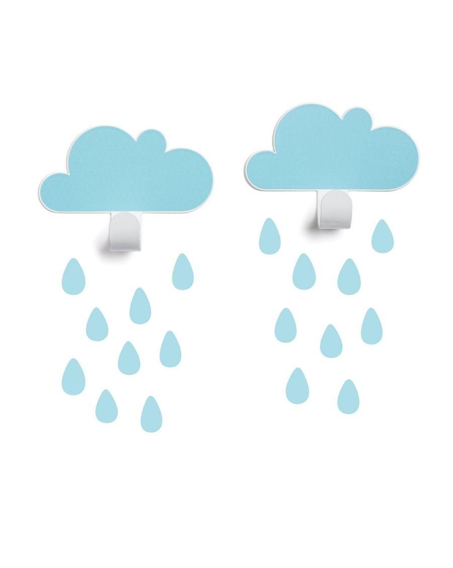 Patères nuages & stickers gouttes - bleu ciel - tresxics - MyloWonders