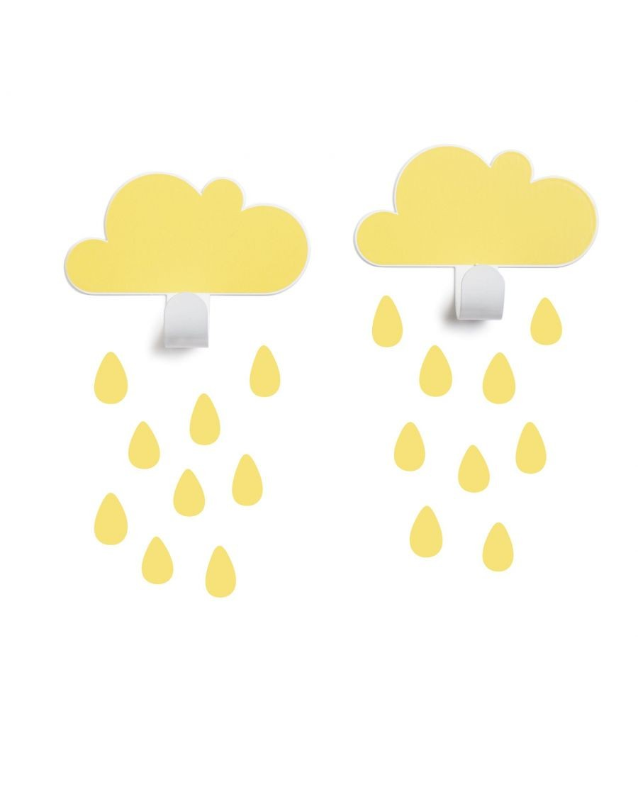 Patères nuages & stickers gouttes - jaune - tresxics - MyloWonders