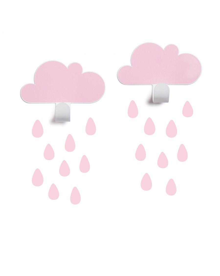 Patères nuages & stickers gouttes - rose - tresxics - MyloWonders
