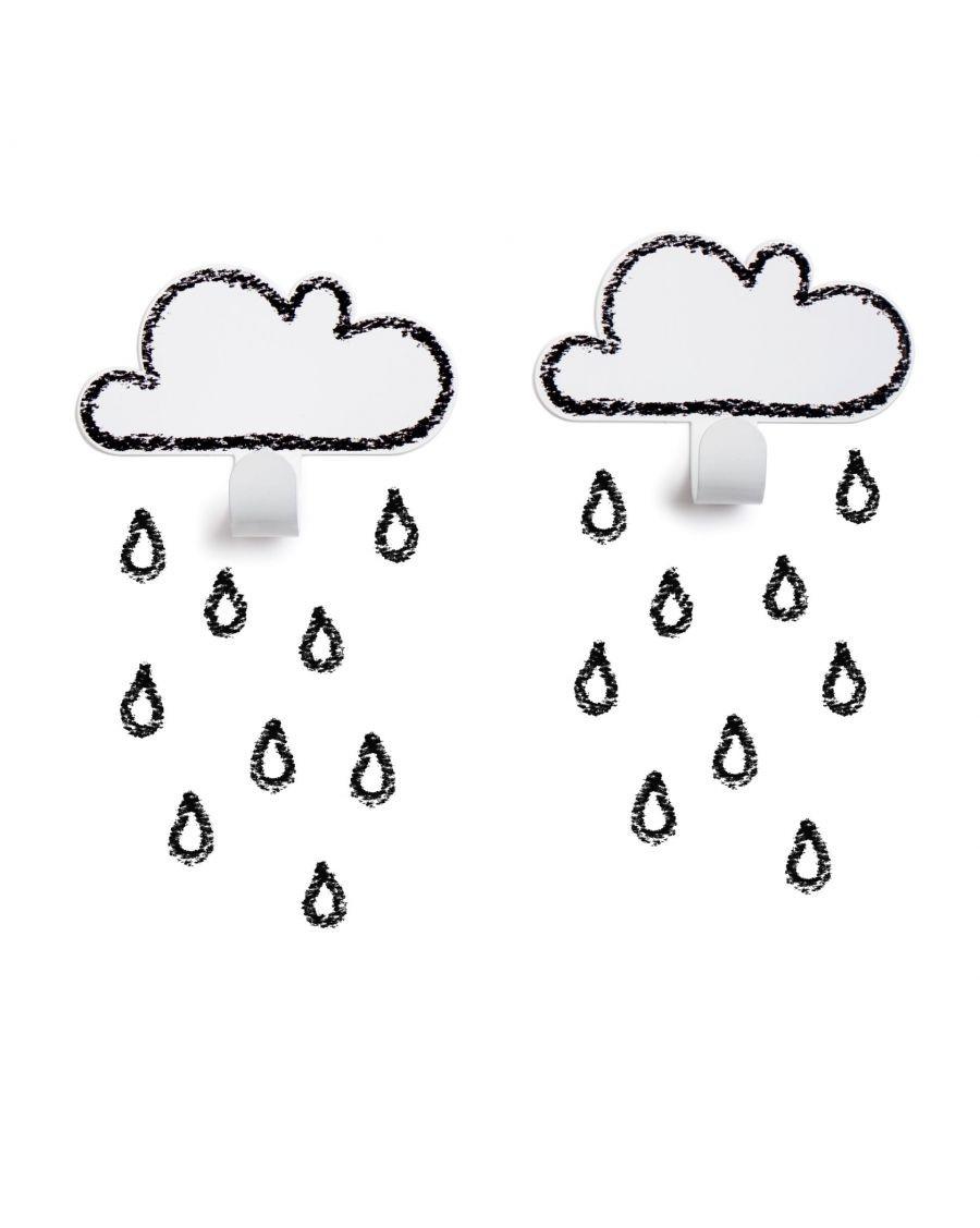 Patères nuages & stickers gouttes - blanc - tresxics - MyloWonders