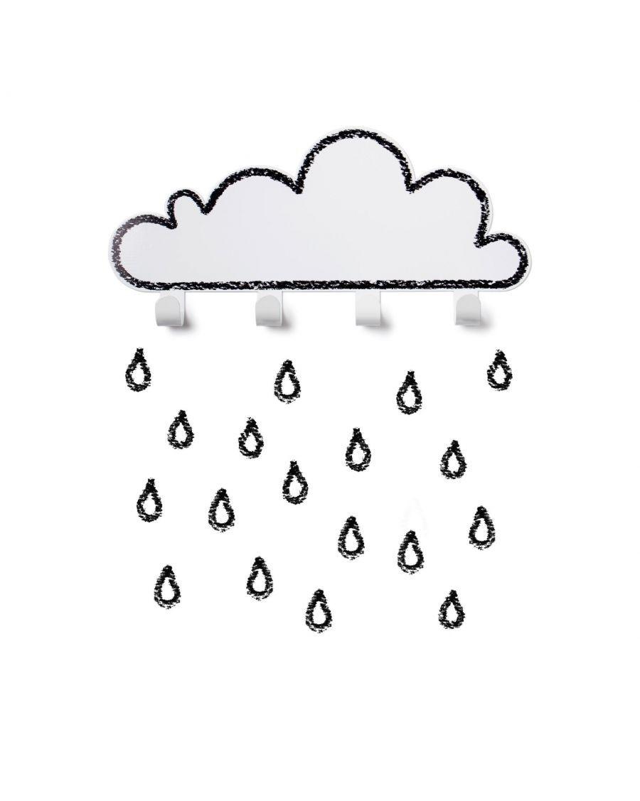 Coat rack white cloud and raindrop stickers - tresxics - MyloWonders