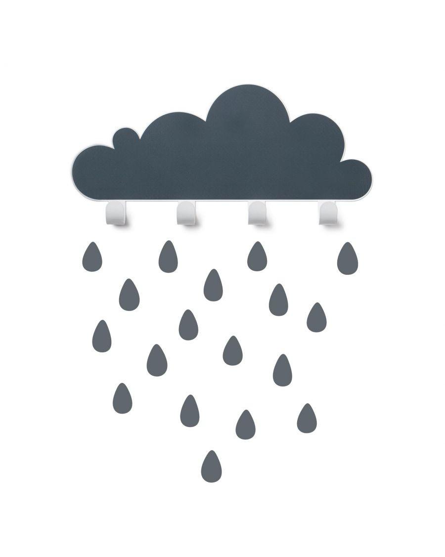 Coat rack grey cloud and raindrop stickers - tresxics - MyloWonders
