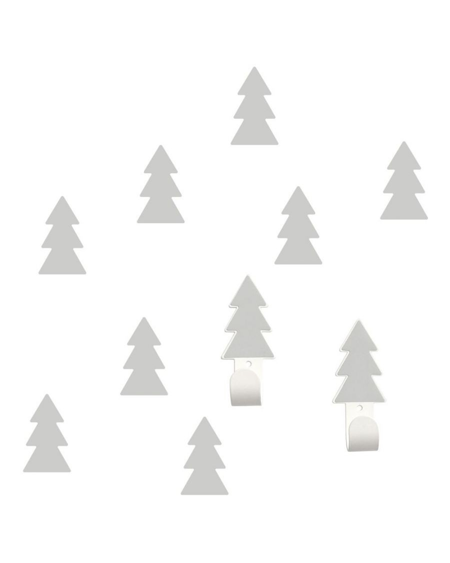 Wall hangers grey fir trees with stickers - tresxics - MyloWonders