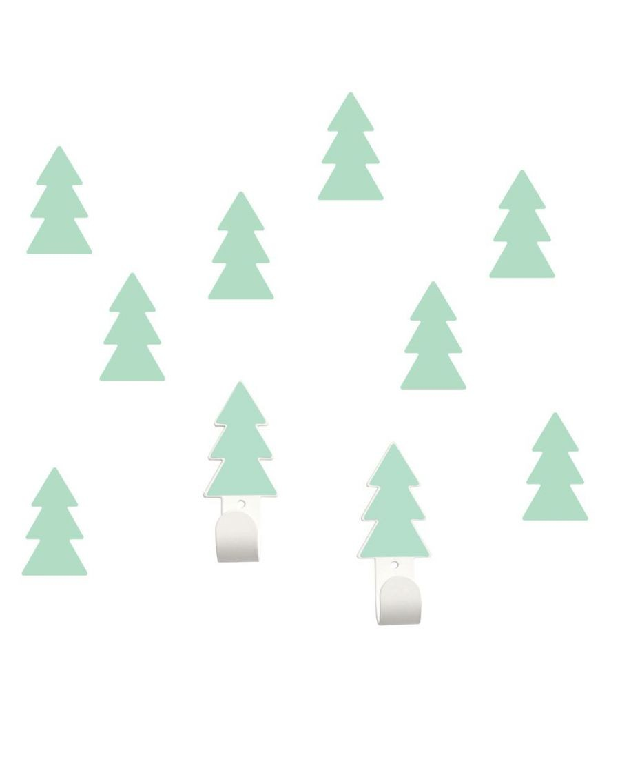 Wall hangers mint fir trees with stickers - tresxics - MyloWonders