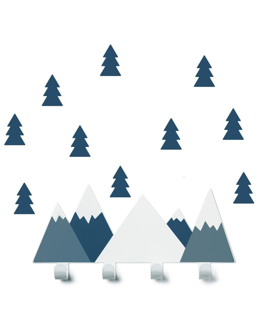 Coat rack blue mountains & fir tree stickers - tresxics - MyloWonders