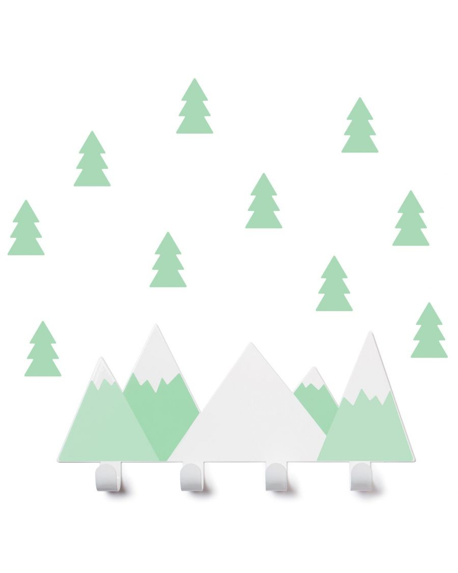 Portemanteau montagne & stickers sapin - vert d'eau - tresxics - MyloWonders