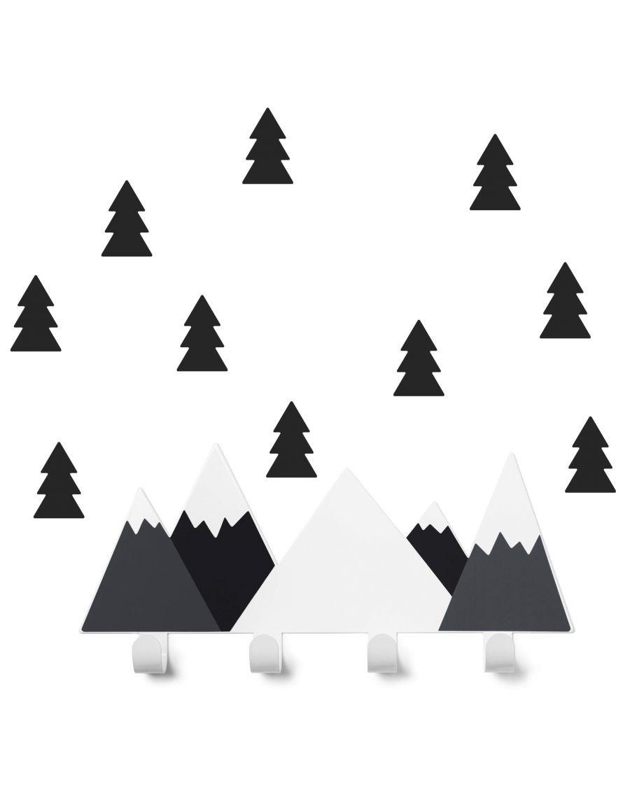 Coat rack black mountains & fir tree stickers - kids - tresxics - MyloWonders