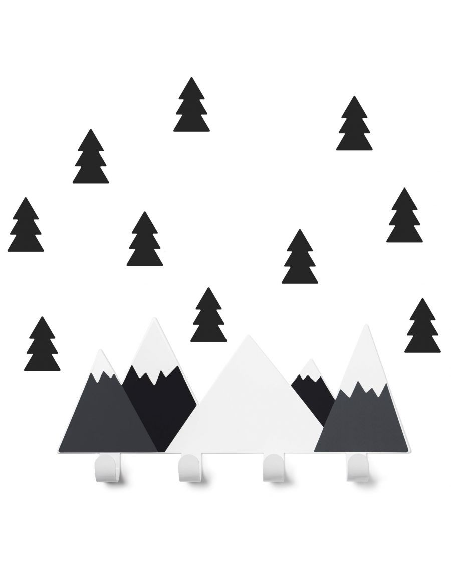 Portemanteau montagne & stickers sapin - noir - kids - tresxics - MyloWonders