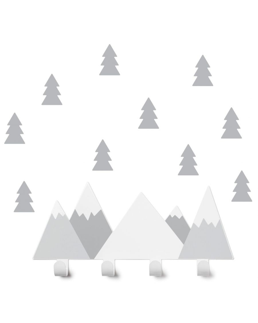 Coat rack grey mountains & fir tree stickers - kids - tresxics - MyloWonders