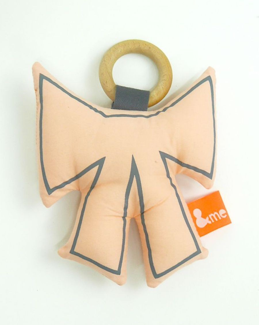 Bow teether pink and grey - MyloWonders