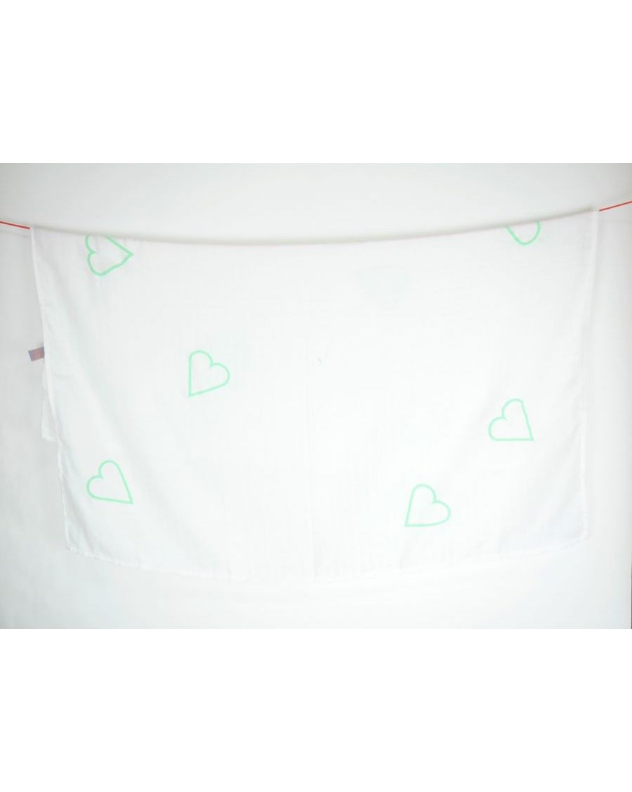 White swaddle with big mint hearts - MyloWonders