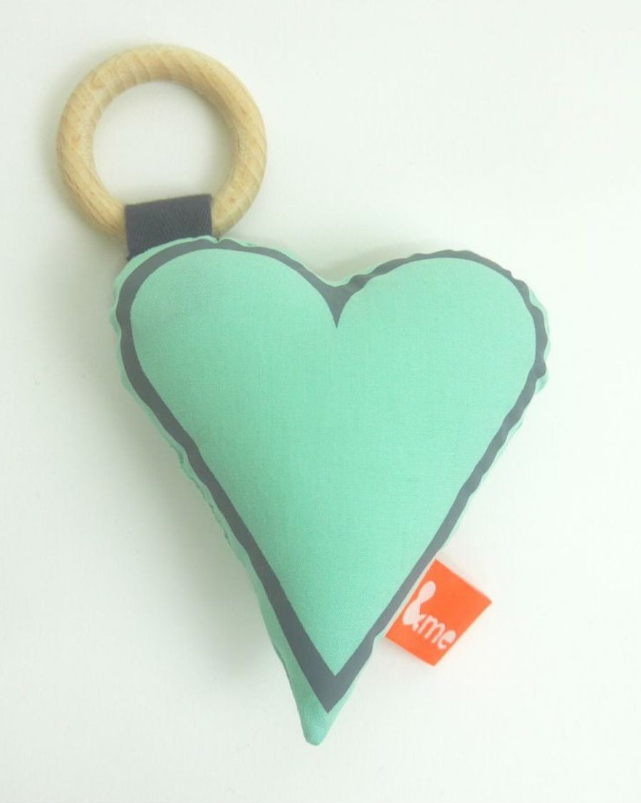 Heart teether mint - MyloWonders