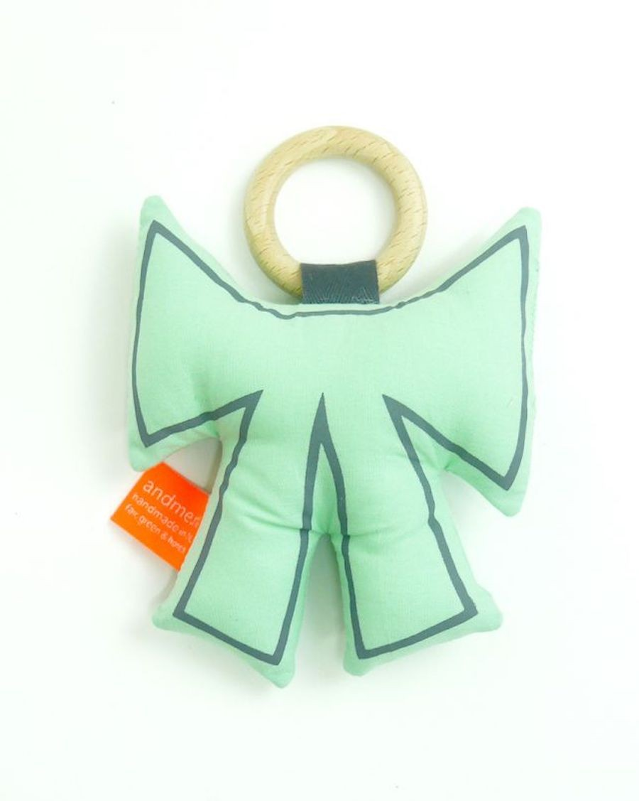 Bow teether mint and grey - MyloWonders