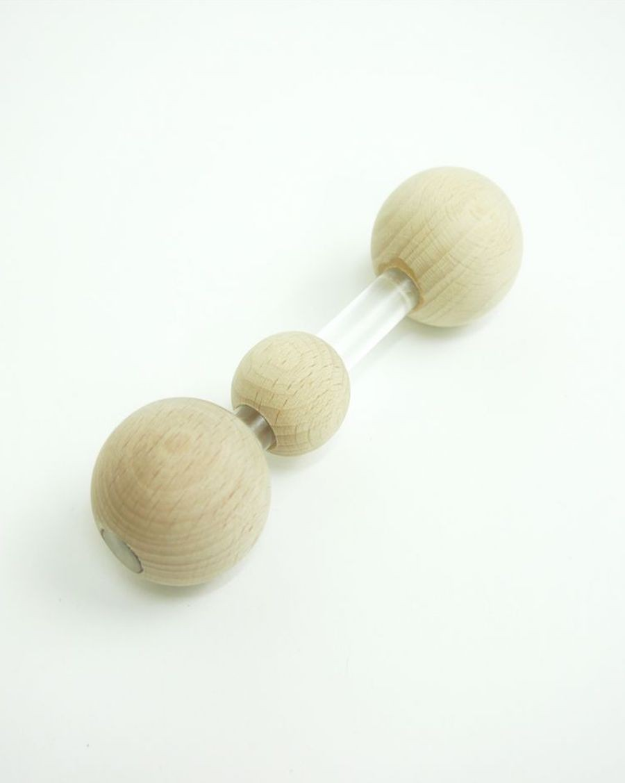 Baby rattle transparent and wood ball - MyloWonders