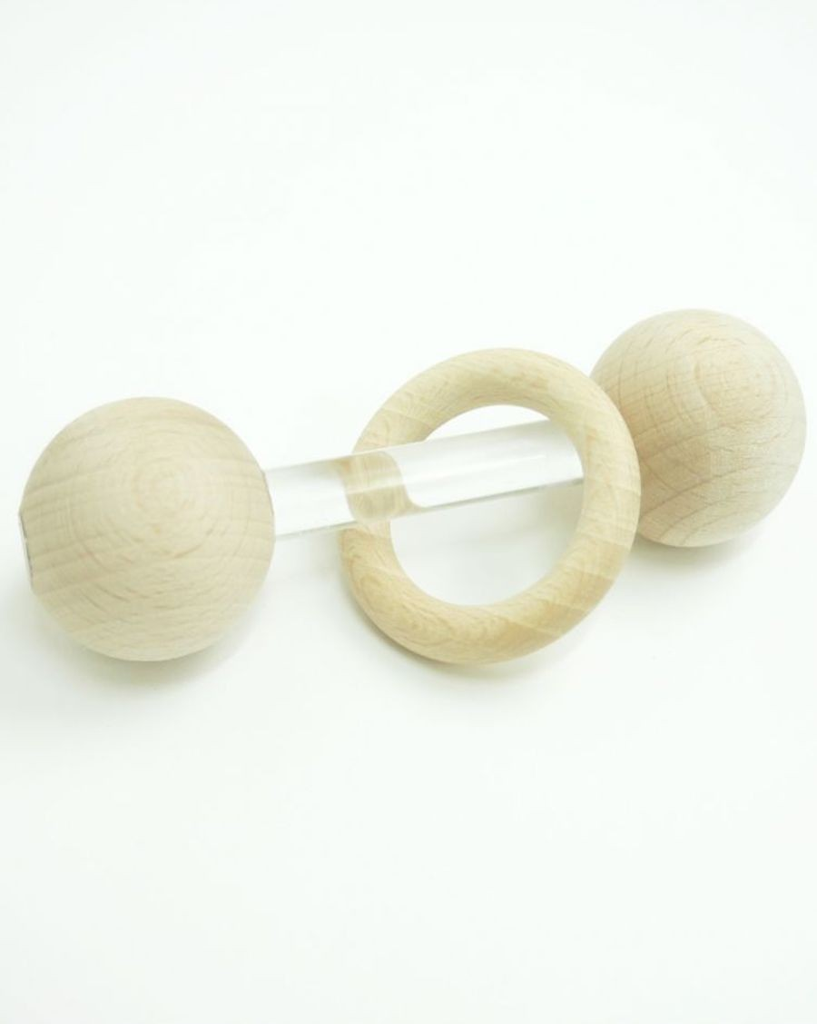 Baby rattle transparent and wood ring - MyloWonders